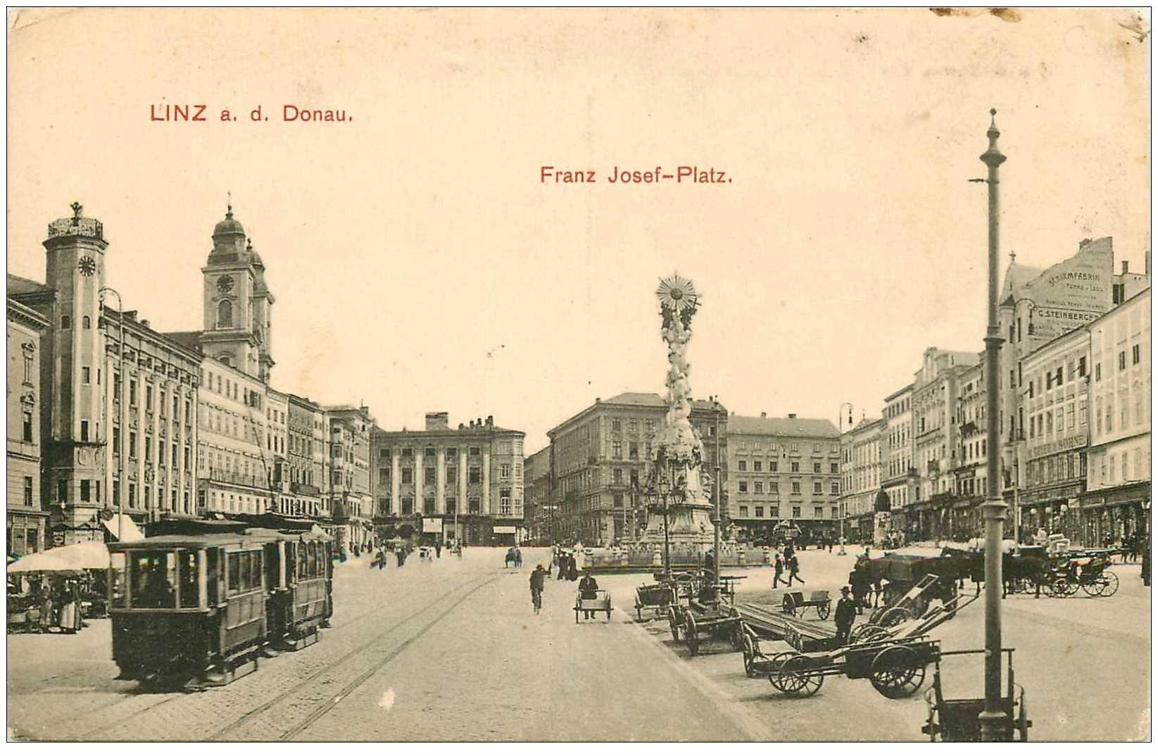 carte postale ancienne AUTRICHE OSTERREICH. Linz Donau Franz Josef Platz