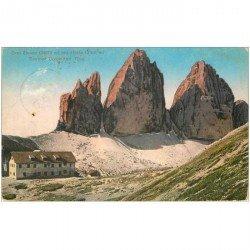 carte postale ancienne OSTERREICH AUTRICHE. Drei Zinnen mit Hütte Sextner Dolomiten Tirol 1913 (défaut)...