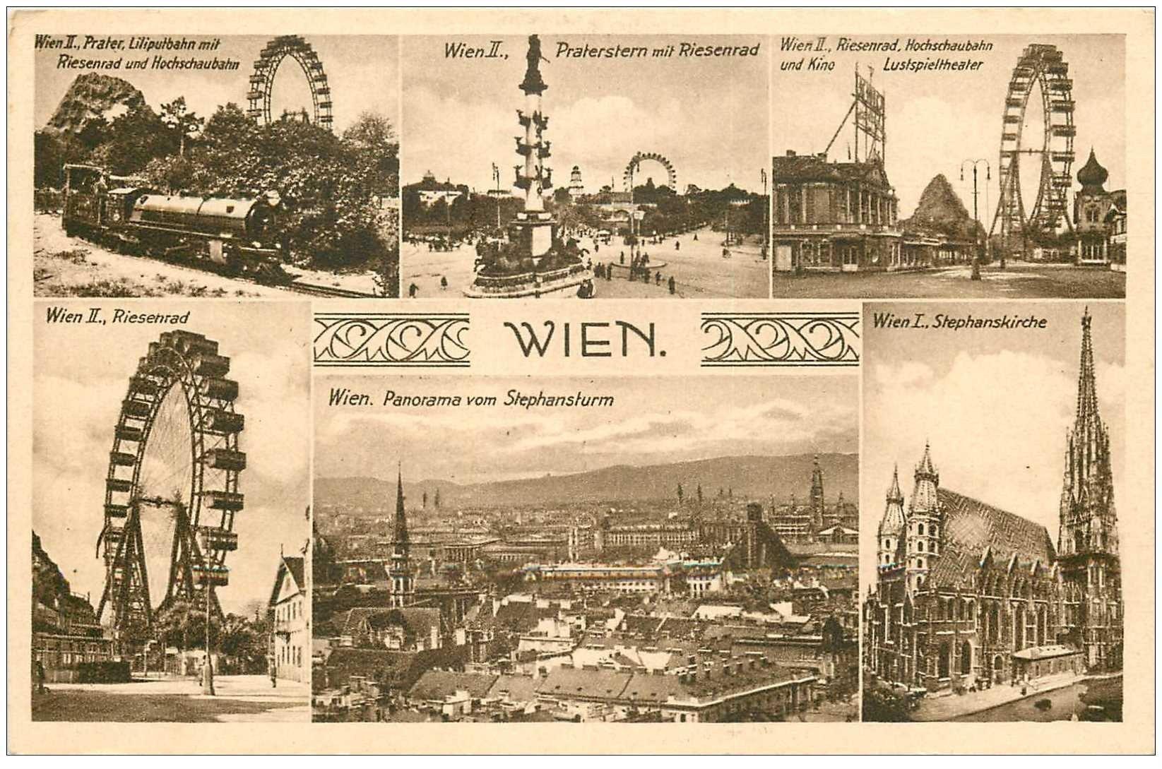 carte postale ancienne WIEN . Prater Riesenrad...