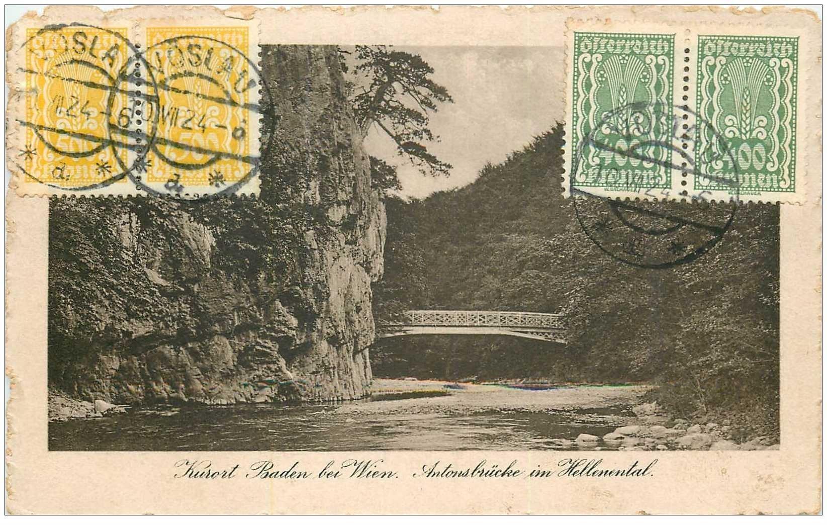 carte postale ancienne WIEN VIENNE. Antonsbrücke im hellenental 1924