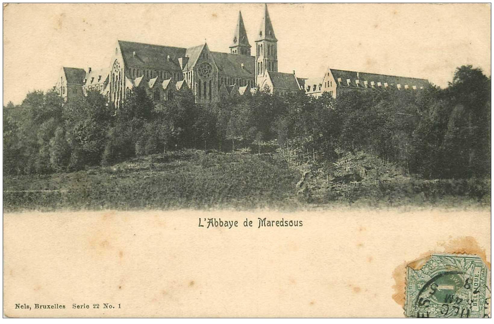 carte postale ancienne ABBAYE DE MAREDSOUS. Timbrée 1918 mais carte vierge