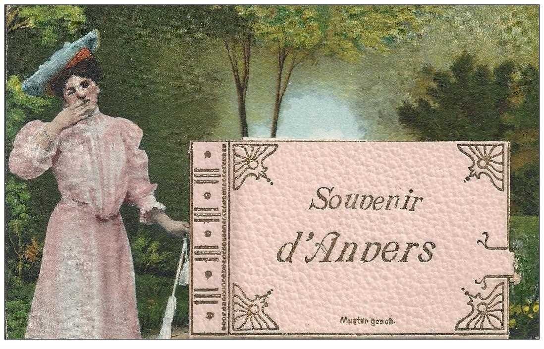 carte postale ancienne ANVERS. Carte à système avec 6 petites vues dans le classeur