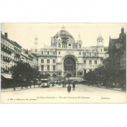 carte postale ancienne ANVERS. Gare Centrale Avenue du Keyser
