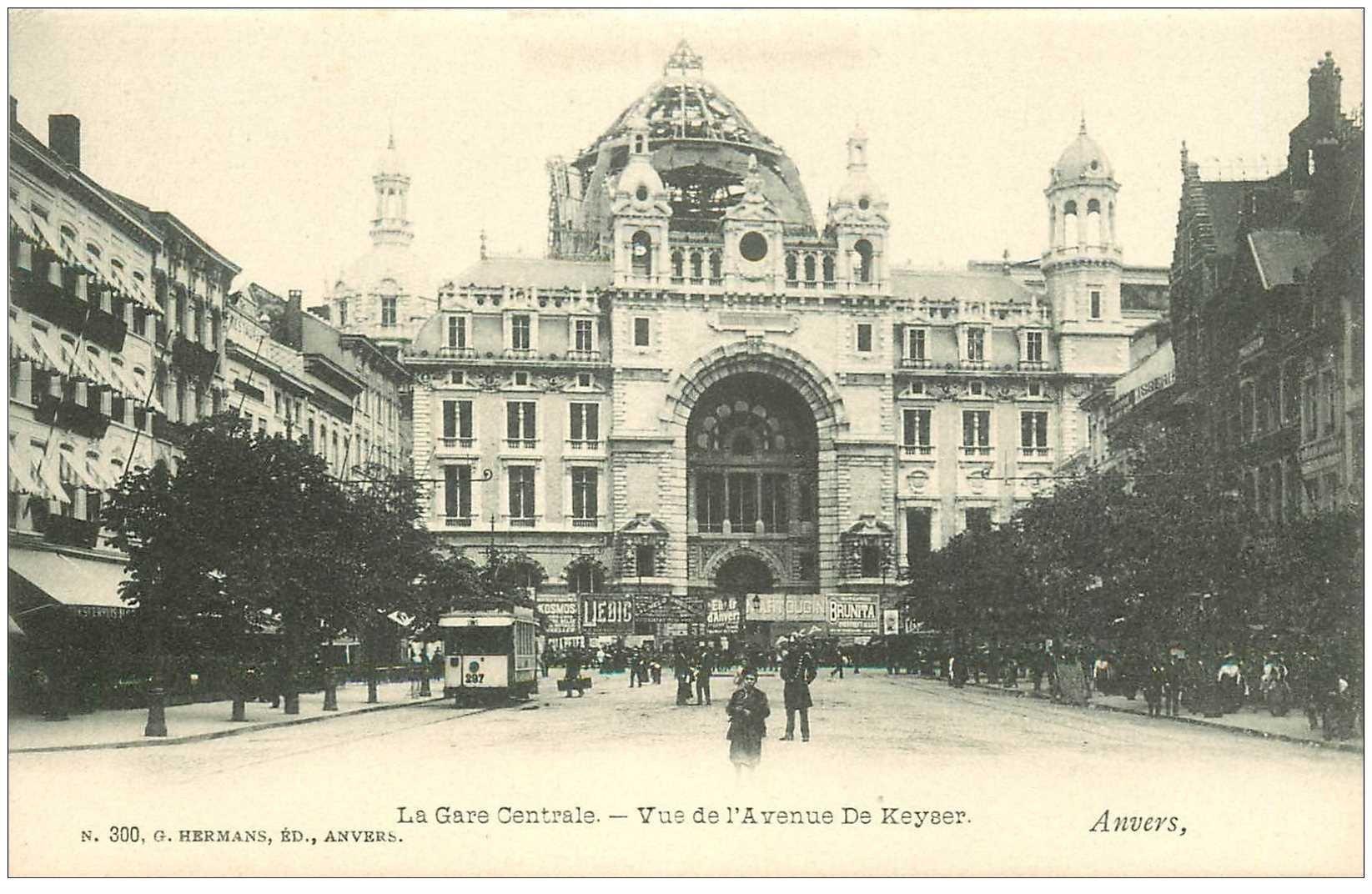 carte postale ancienne ANVERS. Gare Centrale Avenue du Keyser