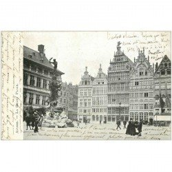 carte postale ancienne ANVERS. Grand Place 1905