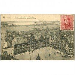 carte postale ancienne ANVERS. Grand Place et Escaut 1920 beau timbre et bord gauche dentelé