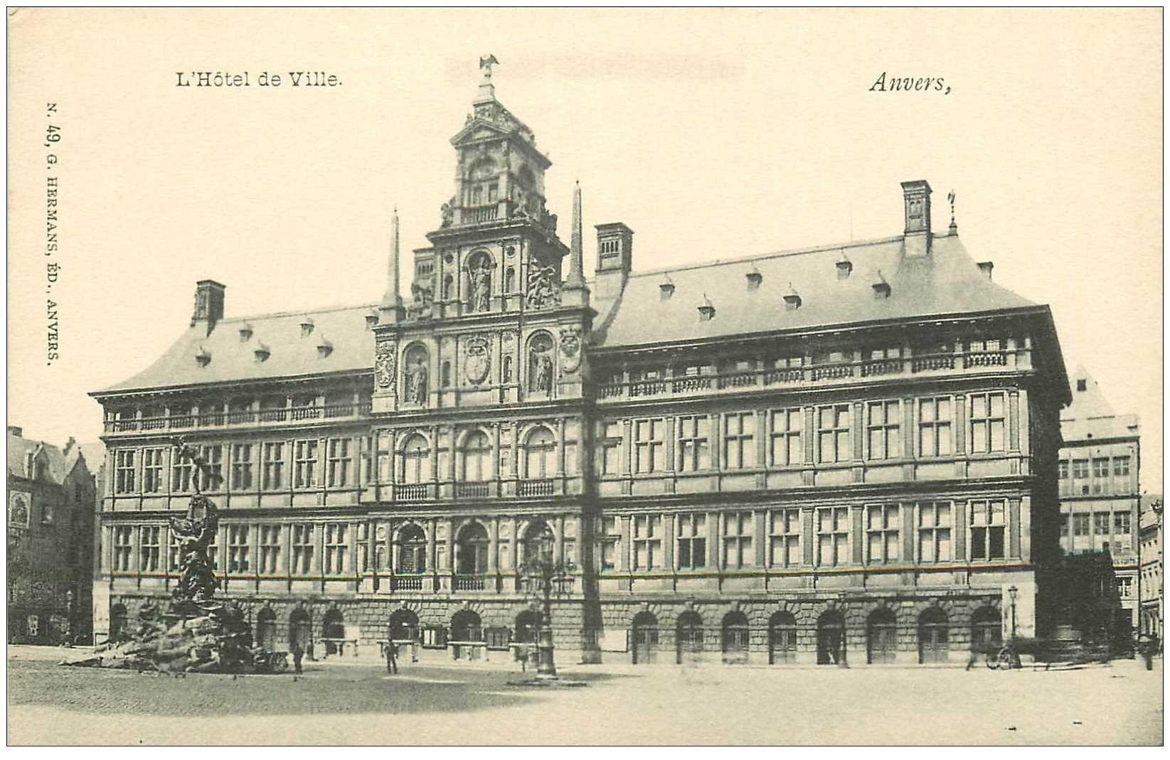 carte postale ancienne ANVERS. Hôtel de Ville
