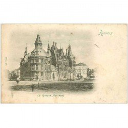 carte postale ancienne ANVERS. La Banque Nationale 1900 timbre manquant