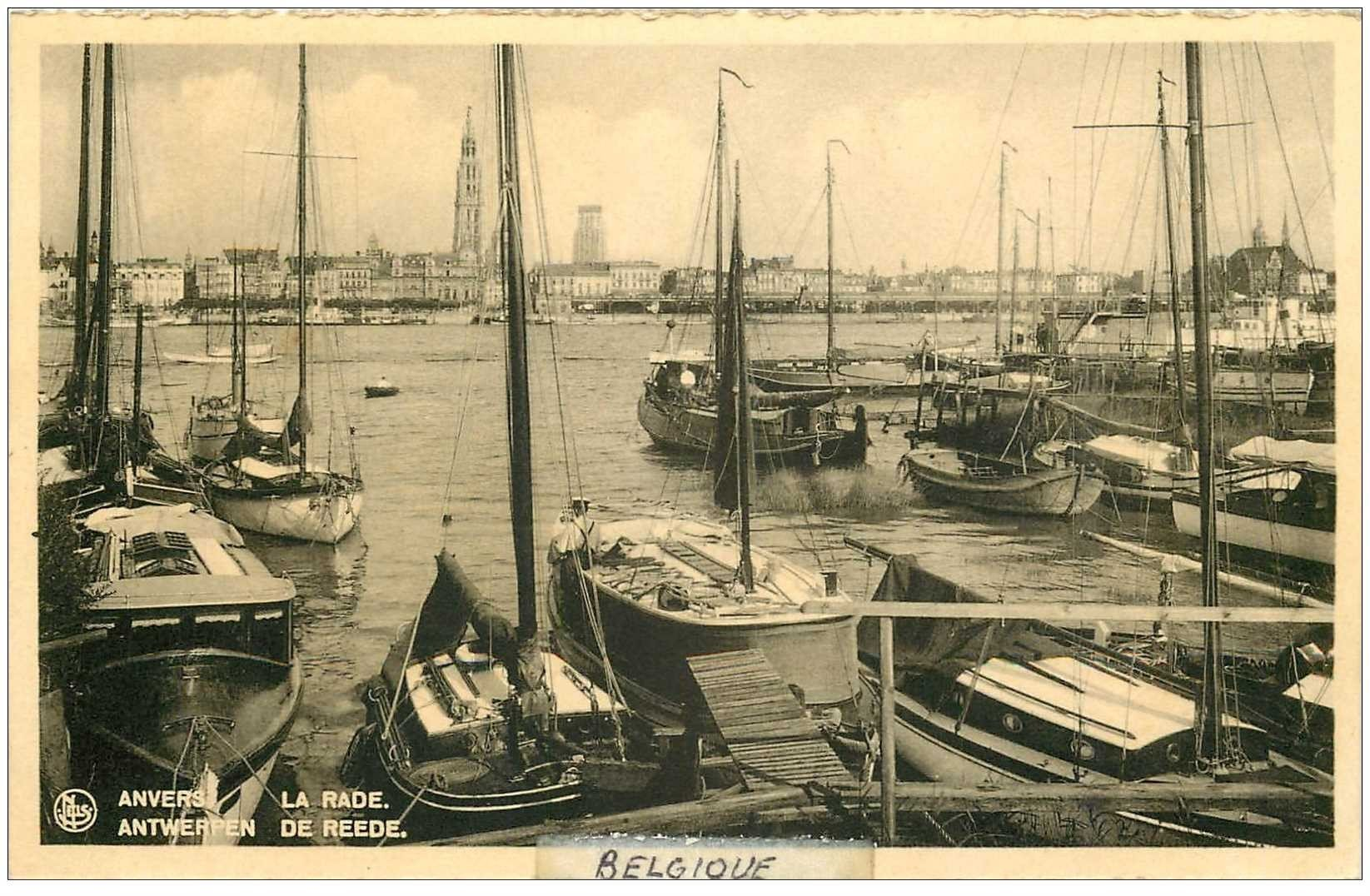 carte postale ancienne ANVERS. La Rade. Bords dentelés