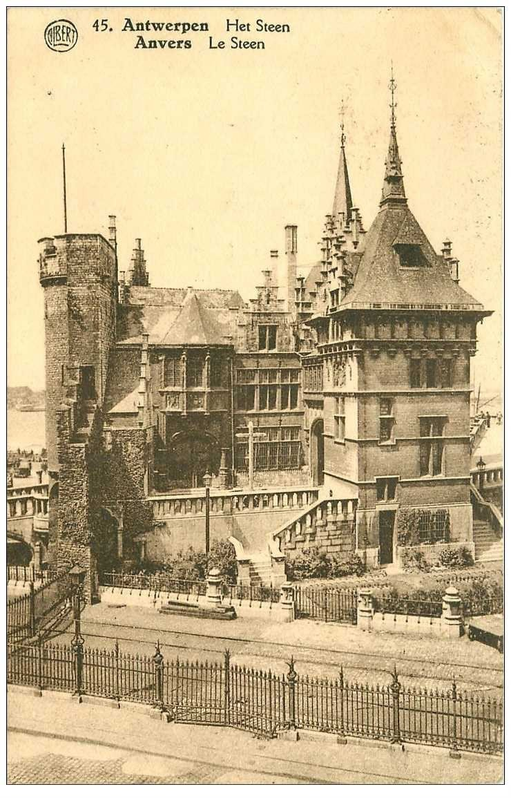 carte postale ancienne ANVERS. Le Steen 1926 timbre manquant verso
