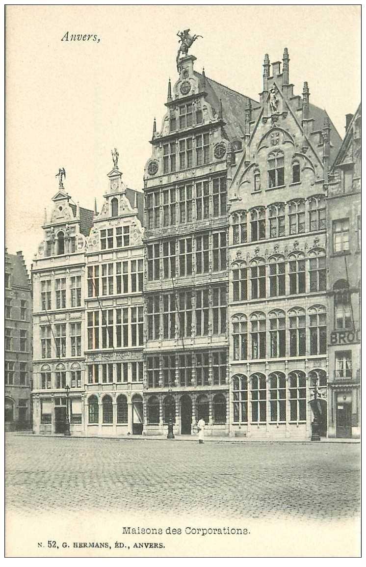 carte postale ancienne ANVERS. Maisons des Corporations