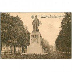 carte postale ancienne ANVERS. Statue du Baron Leys