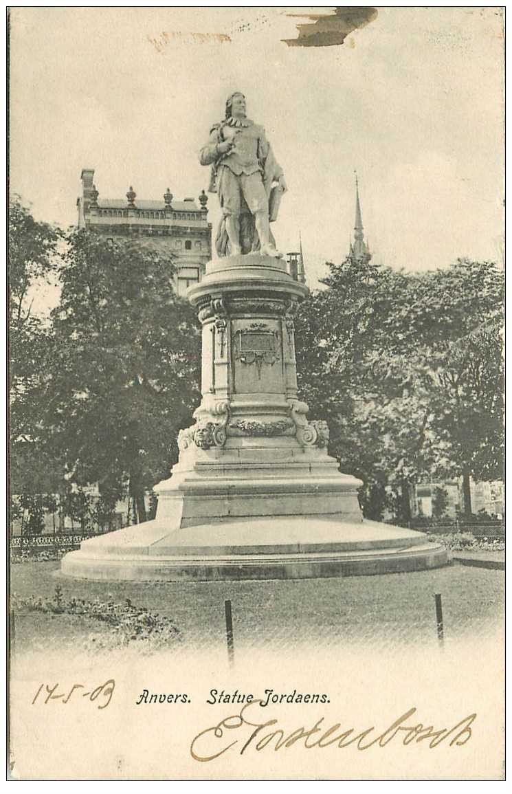 carte postale ancienne ANVERS. Statue Jordaens 1903