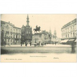 carte postale ancienne ANVERS. Statue Place Léopold Ier