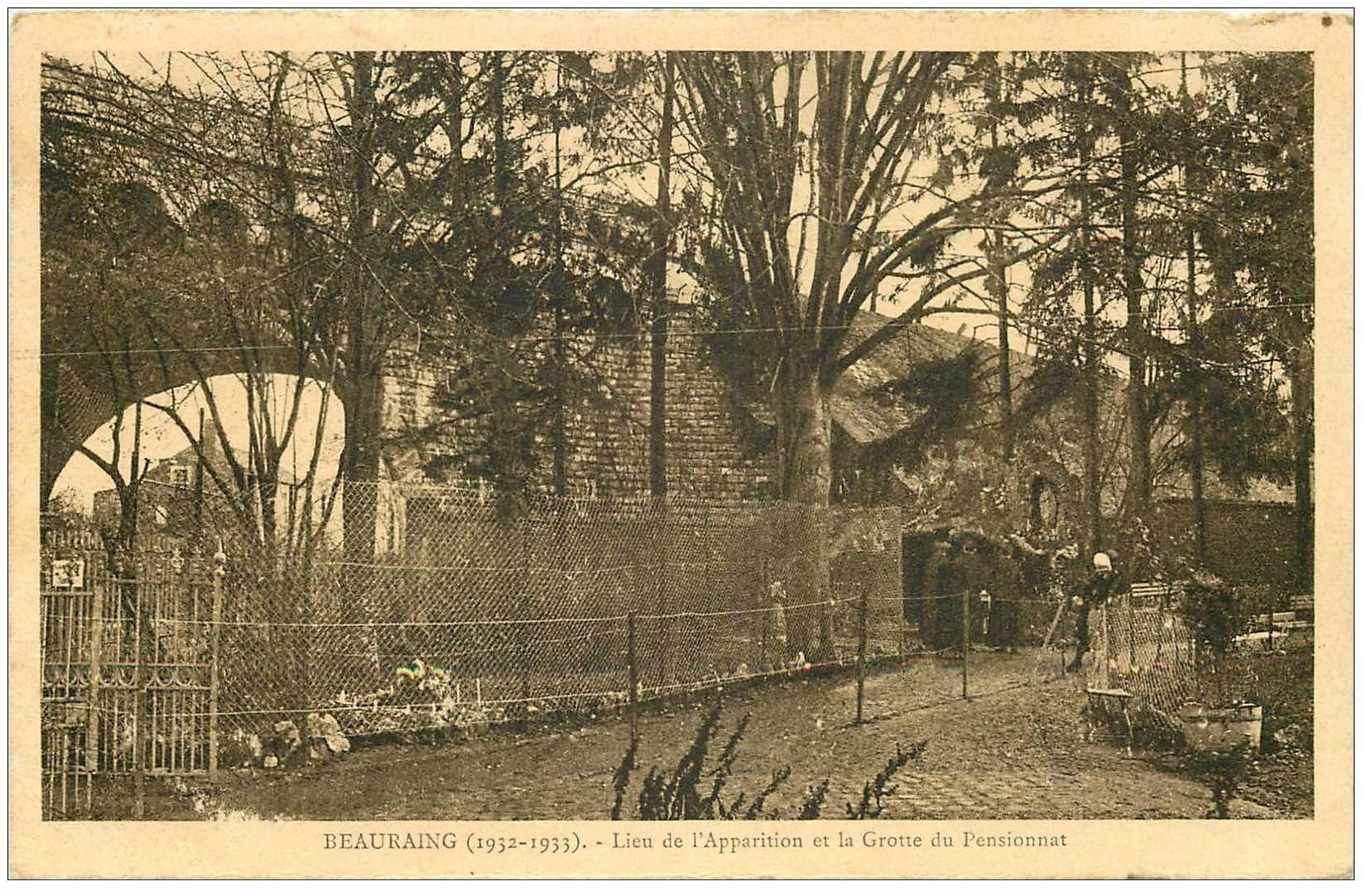 carte postale ancienne BEAURAING. Grotte du Pensionnat lieu Apparition 1943. Manque timbre
