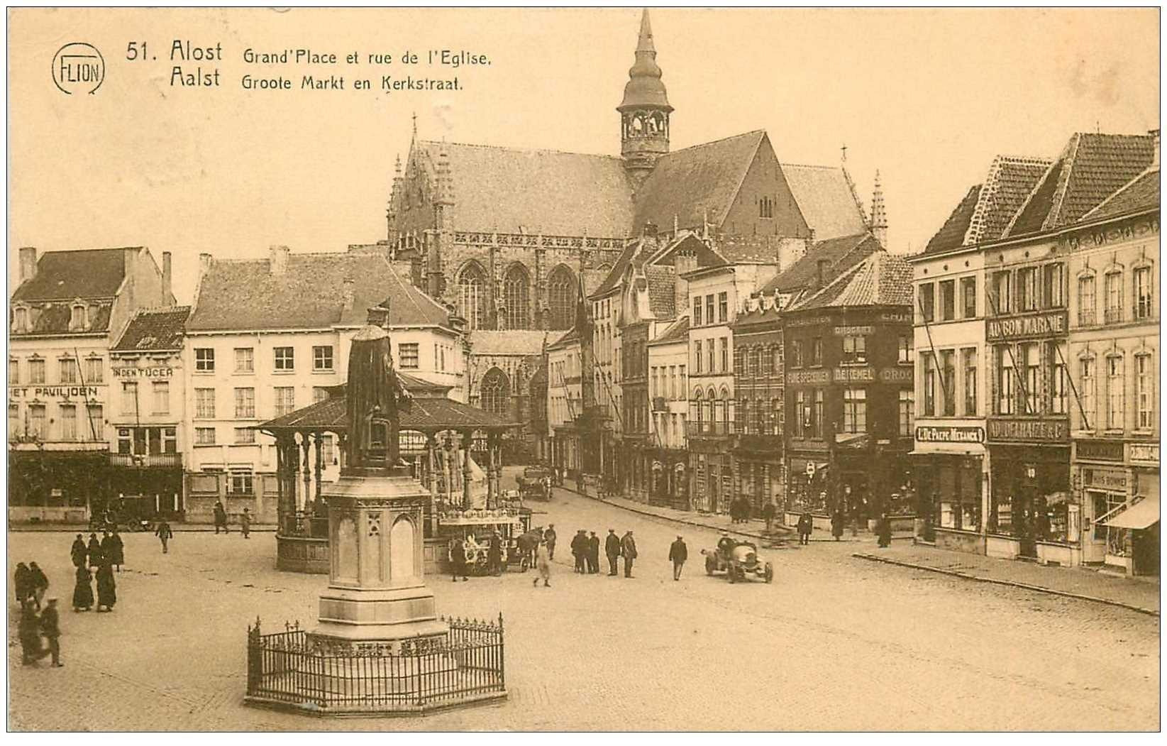 carte postale ancienne Belgique. ALOST AALST. Grand Place et Rue de l'Eglise 1927