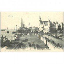 carte postale ancienne Belgique. ANVERS Débarcadère Place et Musée du Steen vers 1900