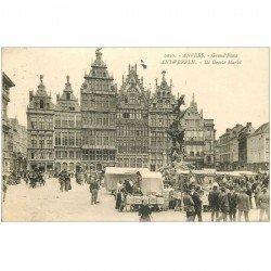 carte postale ancienne Belgique. ANVERS Grand Place ANTWERPEN le Marché 1924