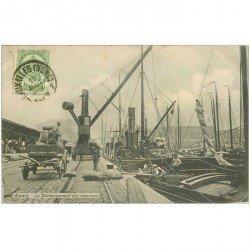 carte postale ancienne Belgique. ANVERS. Le Déchargement des Steamers au Port 1908. Métiers de la Mer
