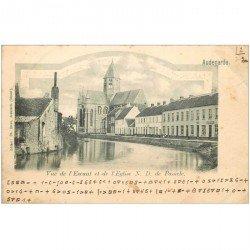 carte postale ancienne Belgique. AUDENARDE l'Escaut et l'Eglise 1909 écriture codée...