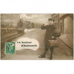 carte postale ancienne Belgique. AUDENARDE. Un bonjour de la Gare avec Train et locomotive 1913