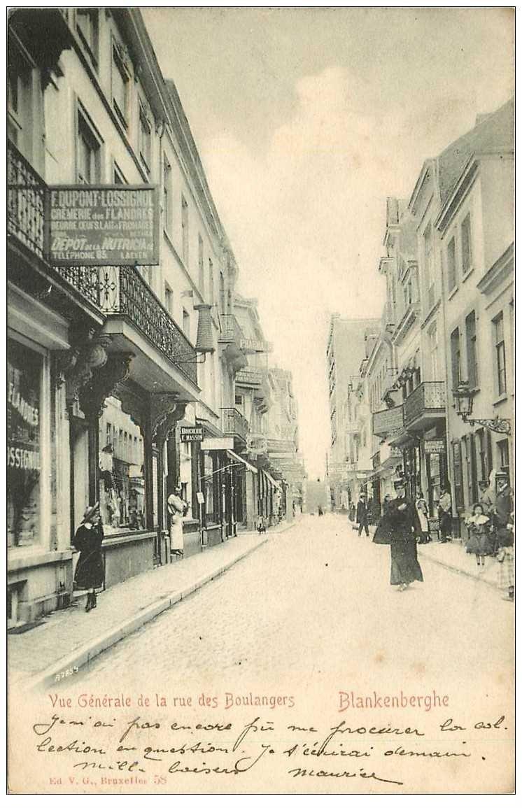 carte postale ancienne Belgique. BLANKENBERGHE rue des Boulangers 1905