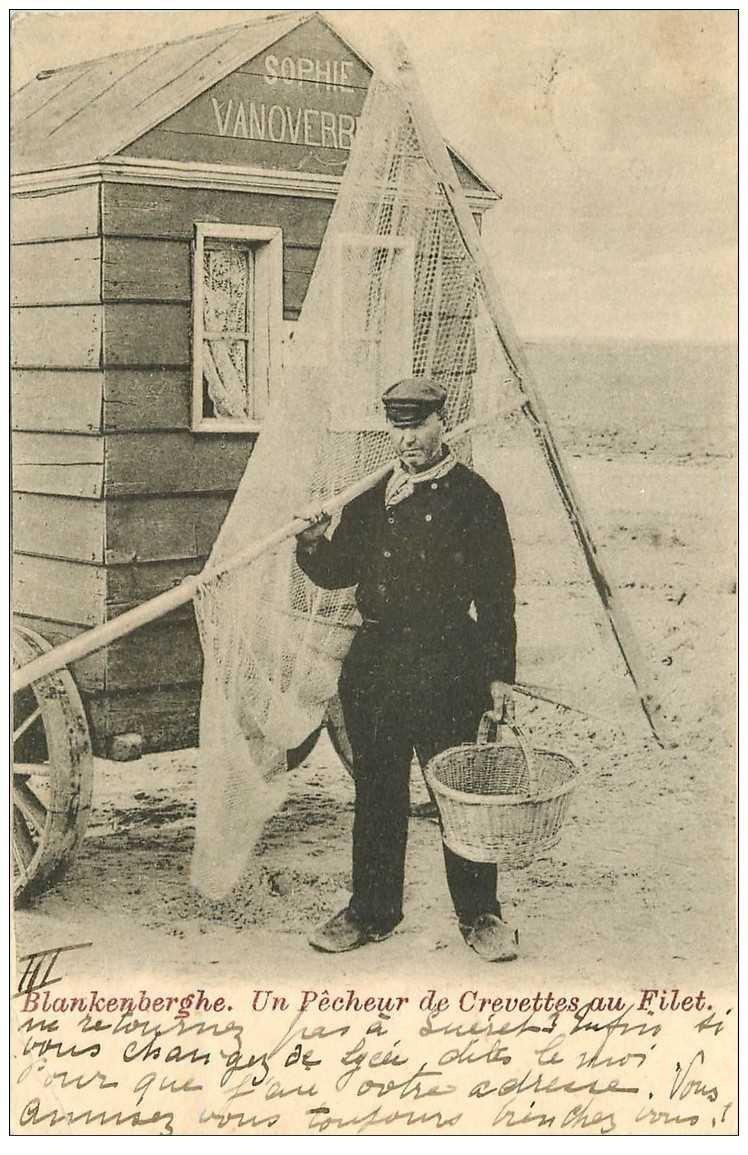 carte postale ancienne Belgique. BLANKENBERGHE. Pêcheur de Crevettes au Filet 1901. Crustacés et Pêches