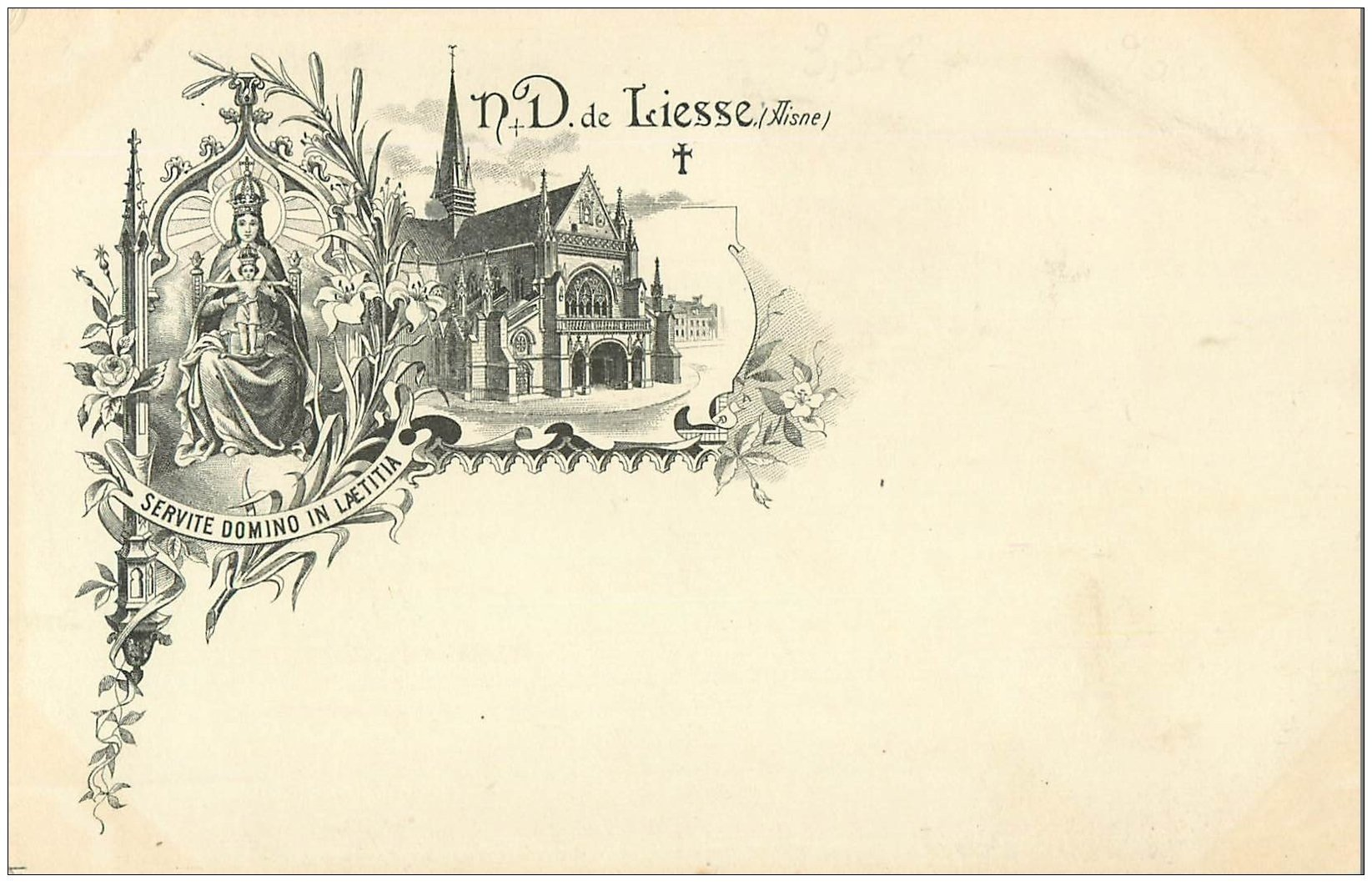 carte postale ancienne 02 NOTRE-DAME-DE-LIESSE. Eglise. Carte Pionnière vers 1900 vierge...