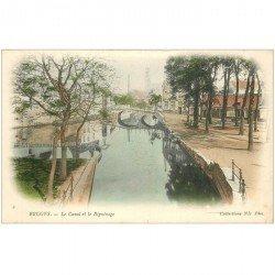 carte postale ancienne Belgique. BRUGES. Canal et Béguinage vers 1900