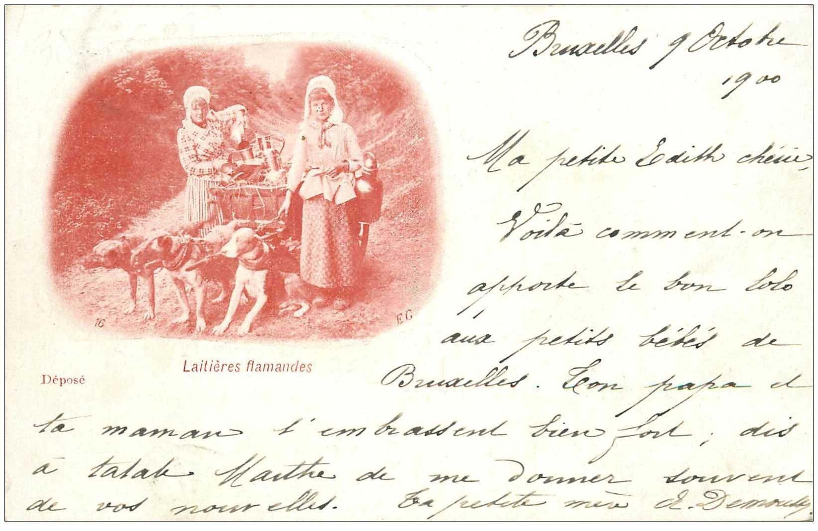 carte postale ancienne Belgique. BRUXELLES 1900. Attelage de Chiens pour Laitières Flamandes 1900