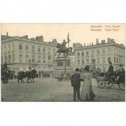 carte postale ancienne Belgique. BRUXELLES BRUSSELS. Place Royal avec Fiacres 1910