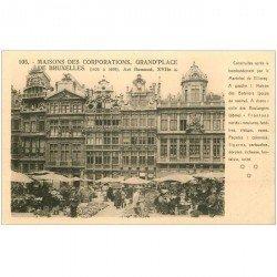 carte postale ancienne Belgique. BRUXELLES Grand Place le Marché aux Fleurs