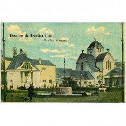 carte postale ancienne Belgique. BRUXELLES. Pavillon Allemand Exposition 1910
