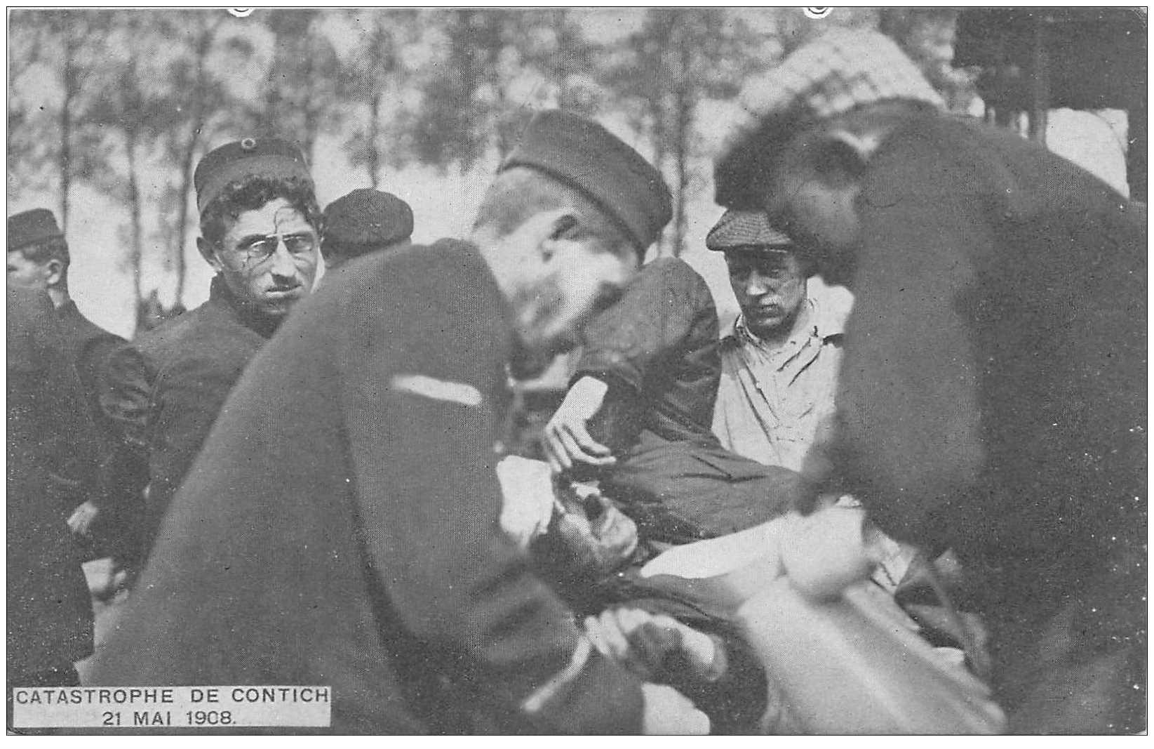 carte postale ancienne BELGIQUE. Catastrophe de Contich le 21 mai 1908. Déraillement d'un Train accident