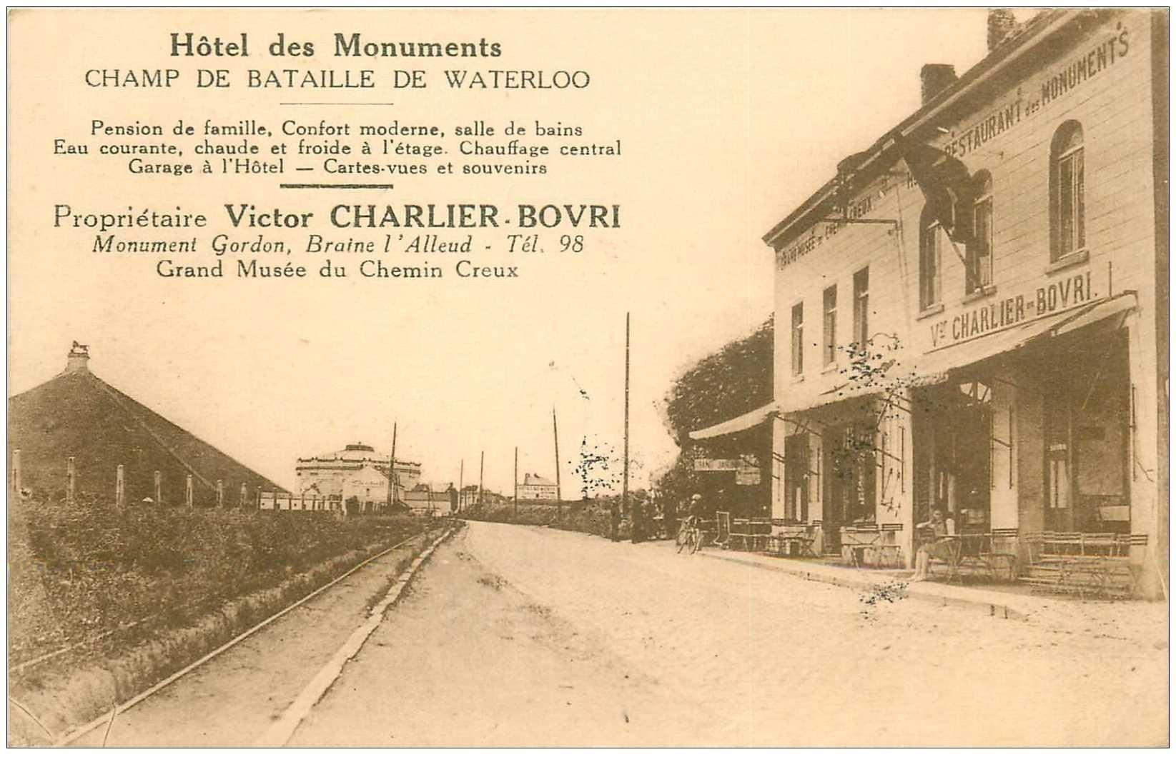 carte postale ancienne Belgique. CHAMP DE BATAILLE DE WATERLOO. Hôtel des Monuments