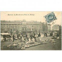 carte postale ancienne Belgique. CHARLEROI. Le Marché Place du Manège 1906