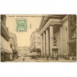 carte postale ancienne Belgique. CHARLEROI. Rue de Marchienne et Eglise de la Ville basse 1911 destinataire au Tonkin