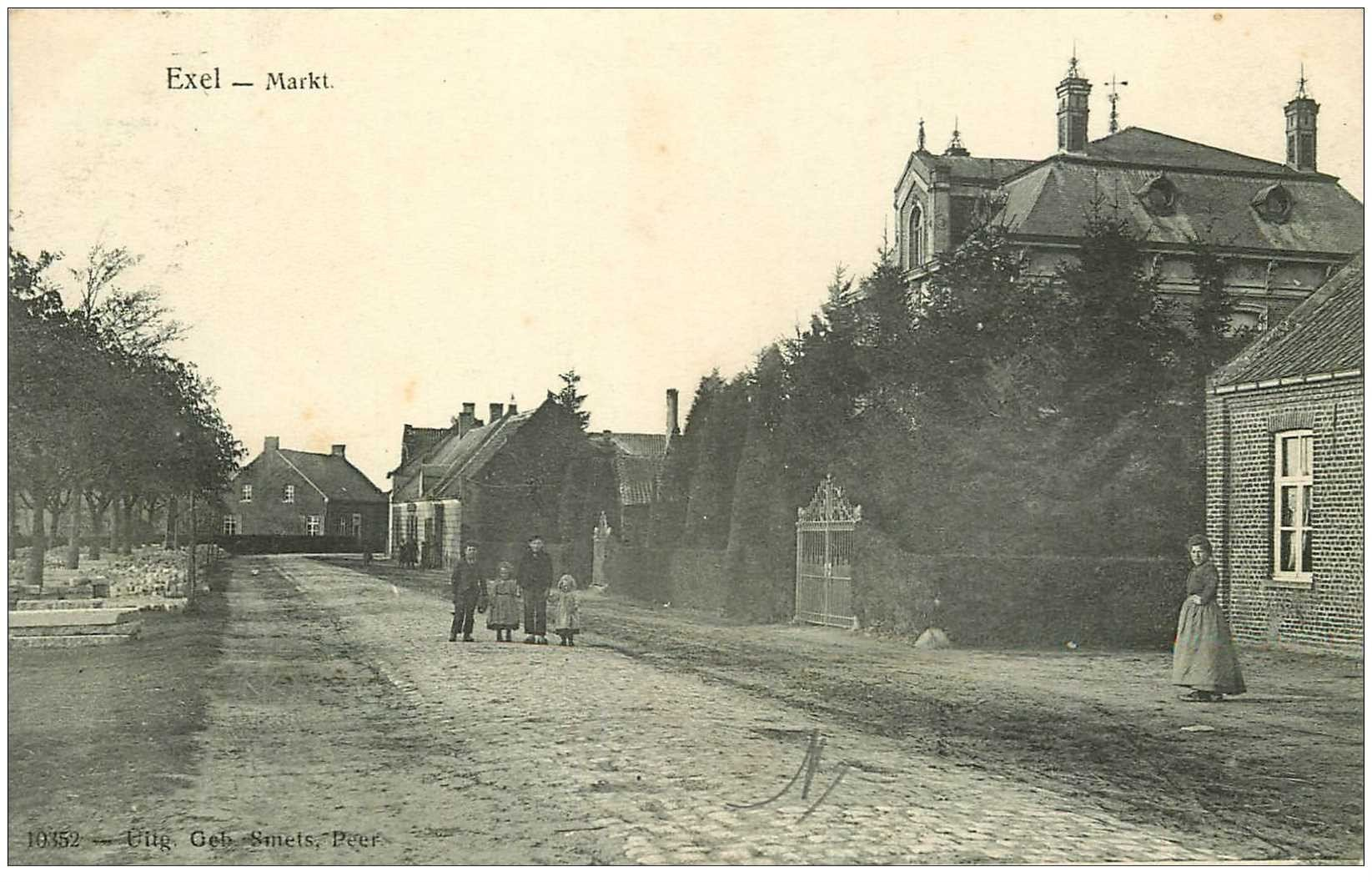carte postale ancienne Belgique. EXEL Markt 1908