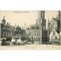 carte postale ancienne Belgique. FURNES. Autos Mitrailleuses Place Hôtel de Ville et Café de Flandre