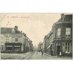 carte postale ancienne Belgique. FURNES. Rue de l'Est commerce Au Bon Marché 1915 Verne