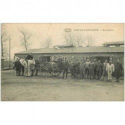 carte postale ancienne BELGIQUE. La Cuisine Camp de Saint-Denis. Obourg Soignie avec Militaires et attelage