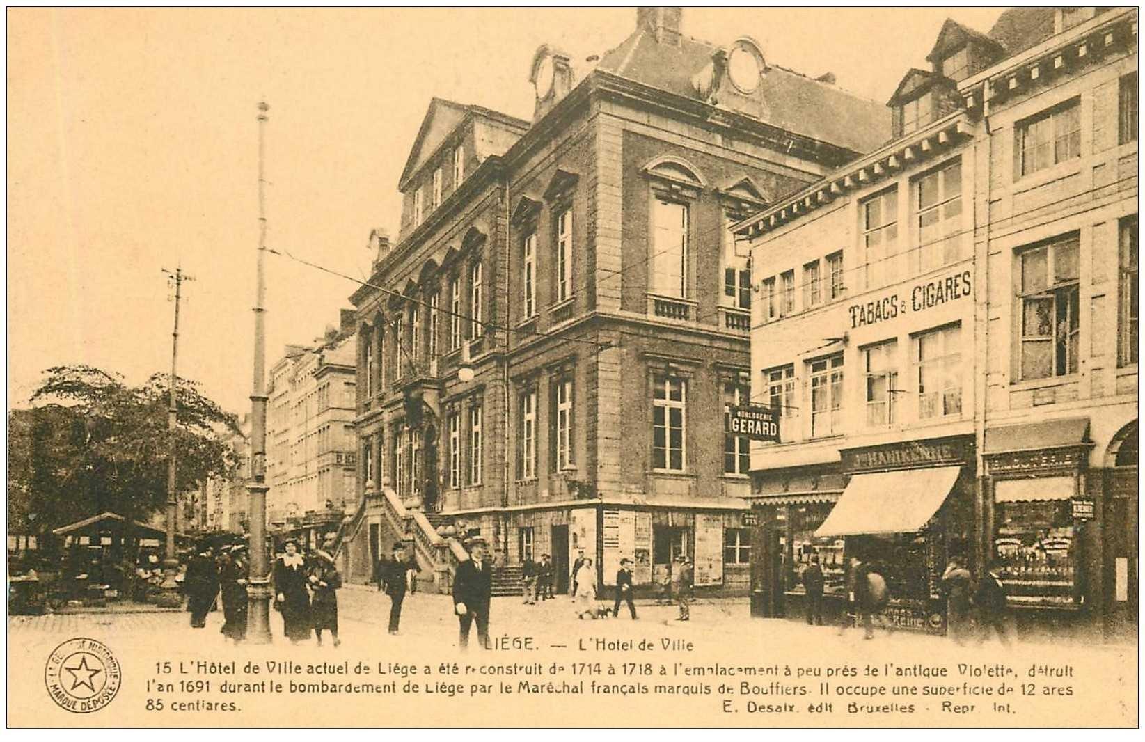 carte postale ancienne Belgique. LIEGE. Hôtel de Ville et le Tabac