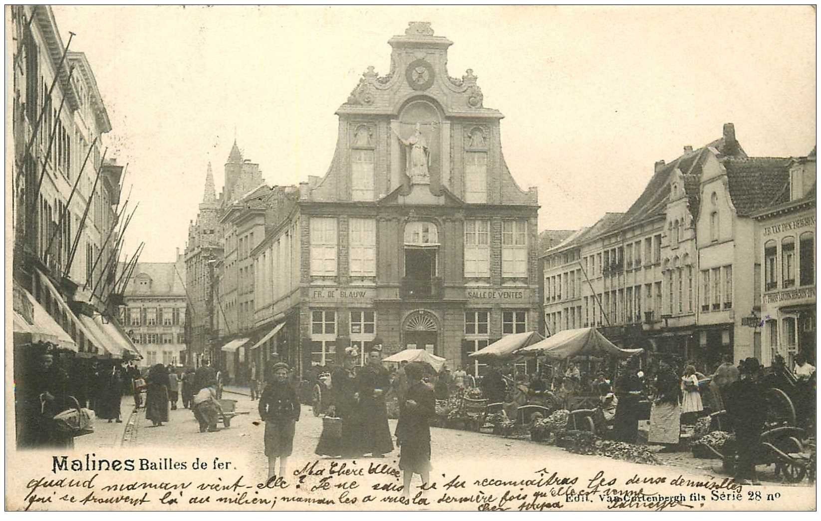 carte postale ancienne Belgique. MALINES Bailles de fer 1902 le Marché