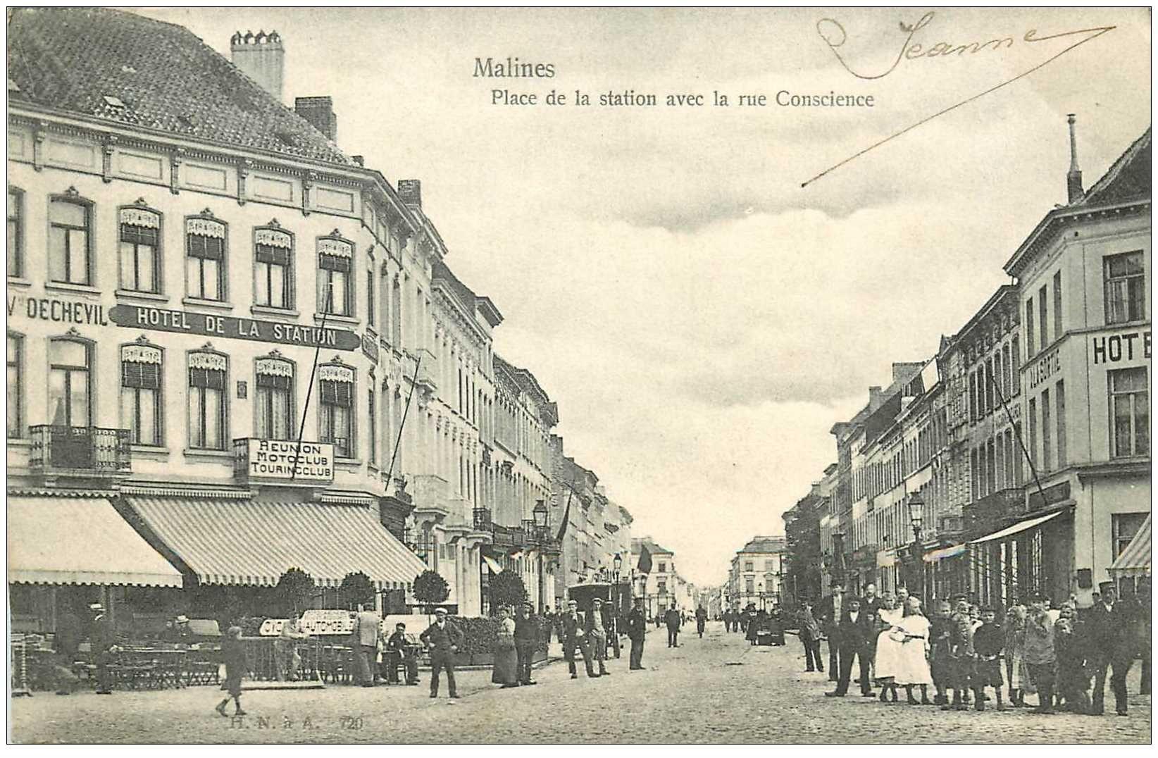 carte postale ancienne Belgique. MALINES Rue de Conscience et Place de la Station 1903