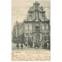 carte postale ancienne Belgique. MALINES. Salle de vente Rue de la Chaussée 1903. Cinq timbres 1 centime