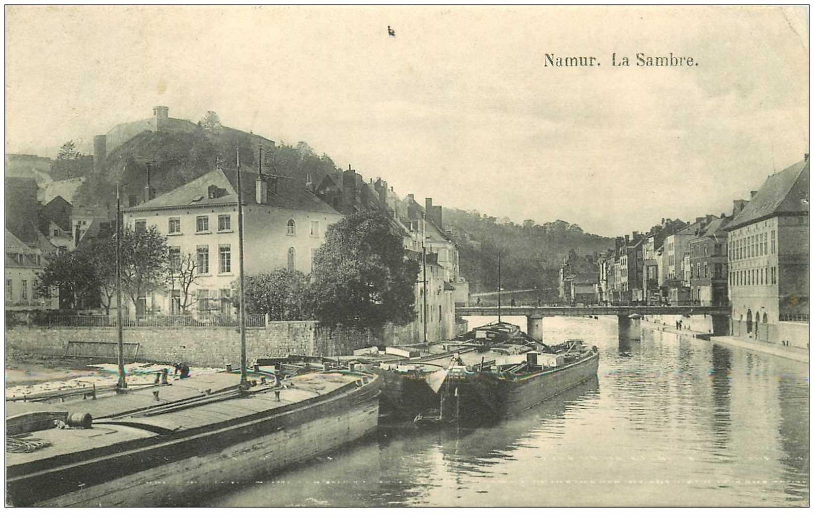 carte postale ancienne Belgique. NAMUR. Péniches sur la Sambre 1912