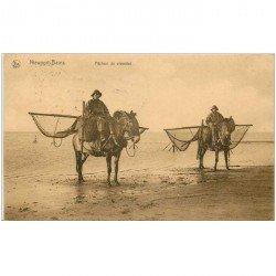 carte postale ancienne Belgique. NIEUPORT BAINS. Pêcheurs de Crevettes sur Chevaux 1930
