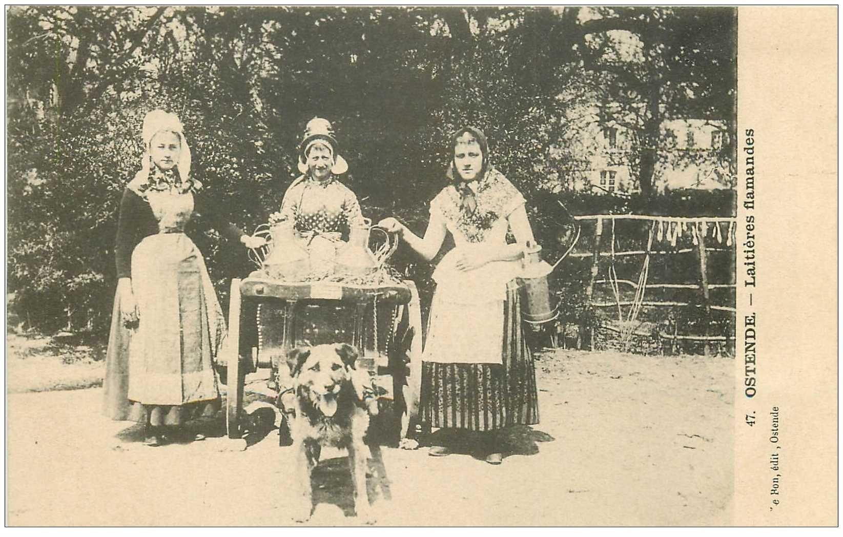 carte postale ancienne Belgique. Ostende. Attelage Chien pour Laitières Flamandes vers 1900