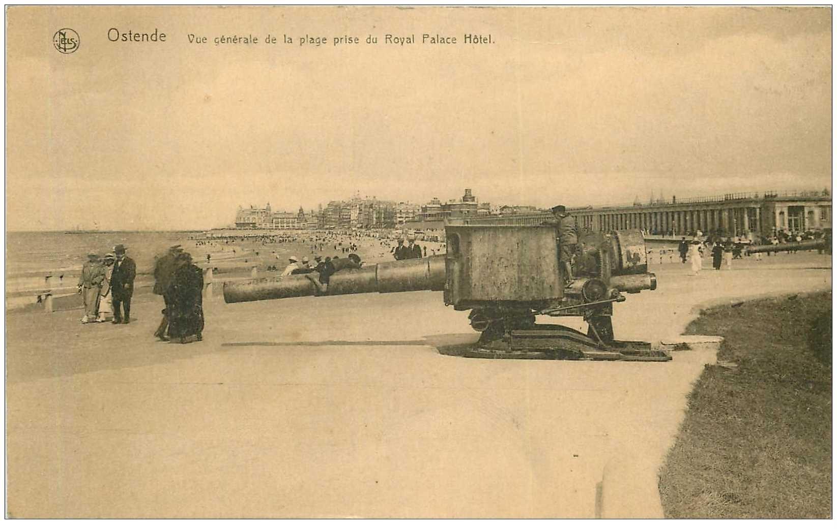 carte postale ancienne Belgique. OSTENDE. Le Canon sur la Plage