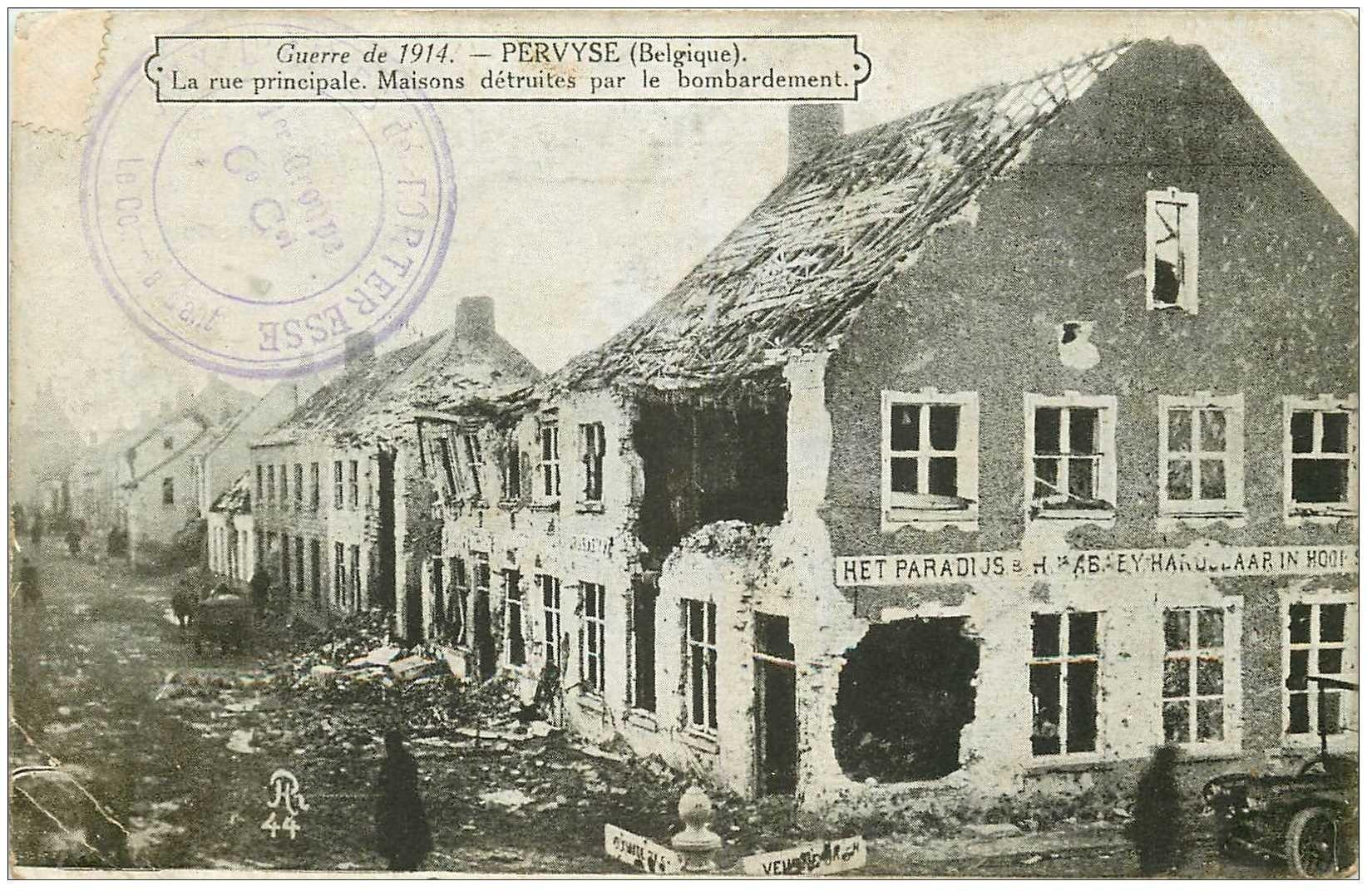 carte postale ancienne BELGIQUE. Pervyse. Rue principale Maisons détruites par bombardement de 1914